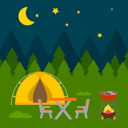 moon chair: Night Landscape camping flat design