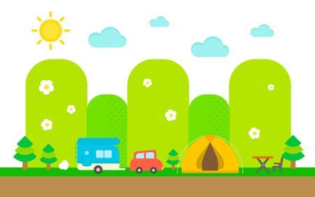 caravans: Enjoy camping flat design