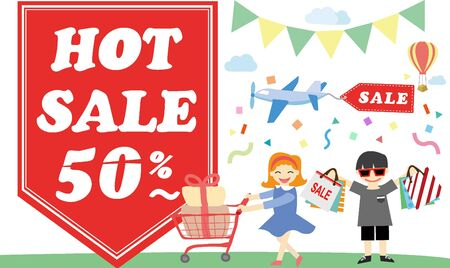shoppingbag: discount event template Illustration