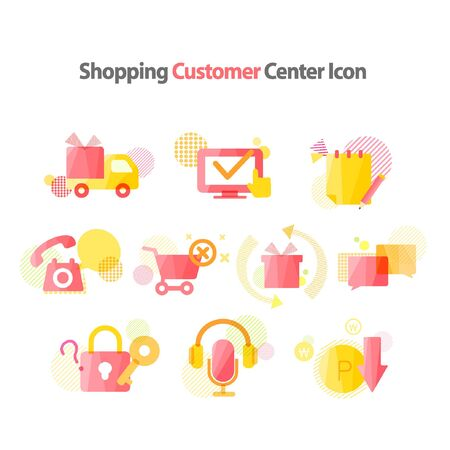 headset voice: shoppingmall customer center icon package