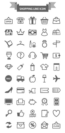 shopping line icon package