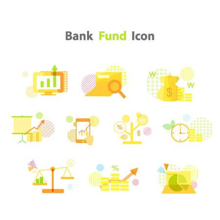 fund: bank fund icon package Illustration