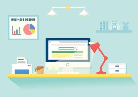plant stand: illustration business desk