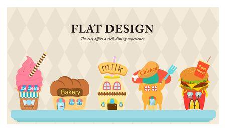 illust: Building a variety of foods flat design