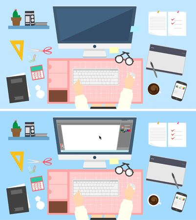 illust: My desk today flat design Illustration