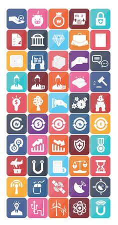 bankroll: flat design pictogram icon set 1 Illustration