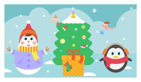 illust: Snowmen and penguins decorate the tree