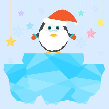 illust: Santa penguin above ice