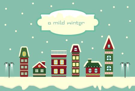 illust: Snowy city Scenery