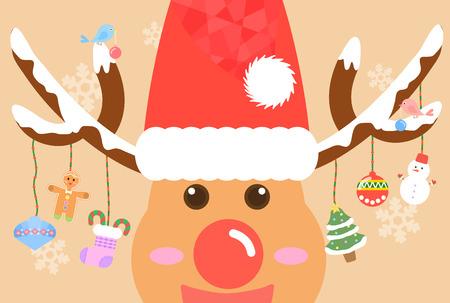 illust: Decorated Christmas Rudolph