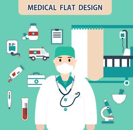 preamble: vector illustration of flat Hospital web elements Illustration