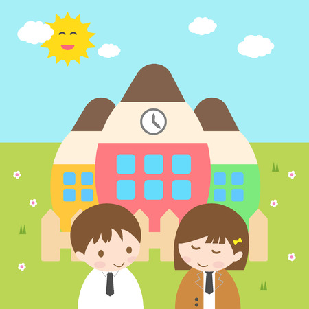 frienship: vector illustartion of friendshipyoung couple standing in front of school