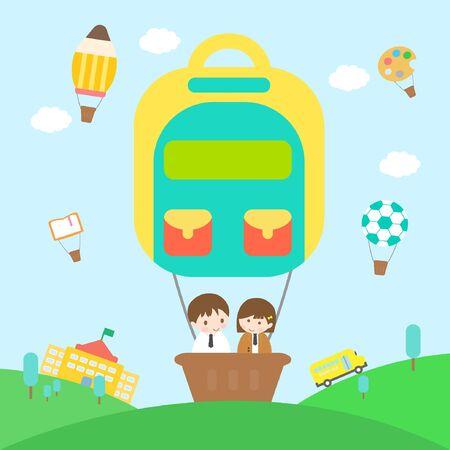 school life: vector illustration of happy school life