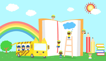 school life: illustrationPleasant school life