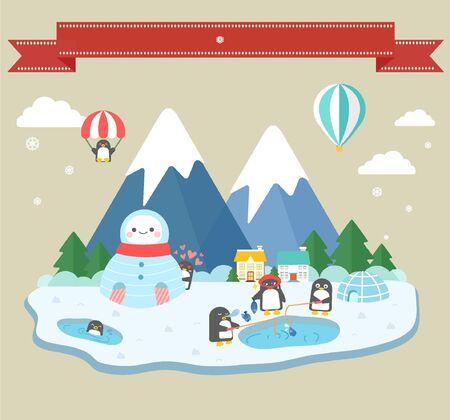 illust: illustration Winter life of penguins