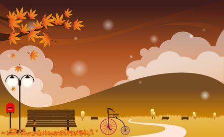 illust: Autumn park landscape templet Illustration