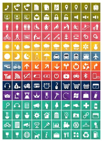 2d map: Various pictogram icon set