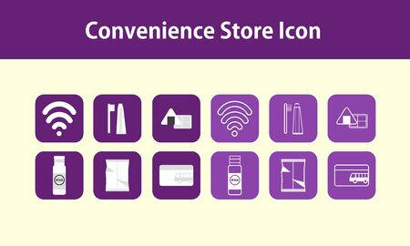 convenience: convenience store icon package Illustration