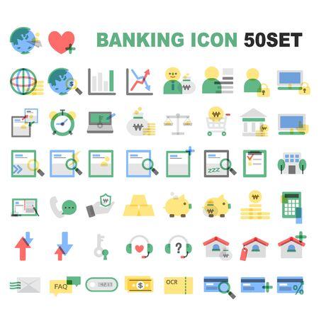 バンキング: 銀行のアイコン パッケージ  イラスト・ベクター素材