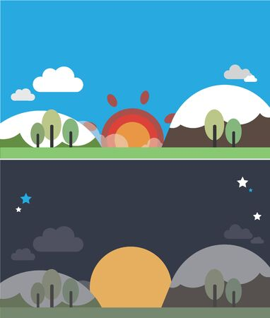illust: illustration Landscape of the day and night Illustration