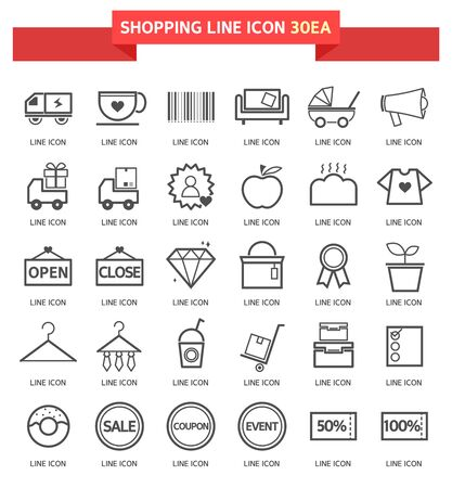 life event: shopping icon set
