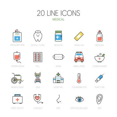 otolaryngology: Medical line Icon set