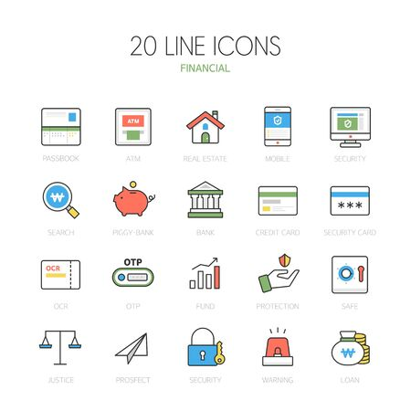 practical: Banking line Icon set