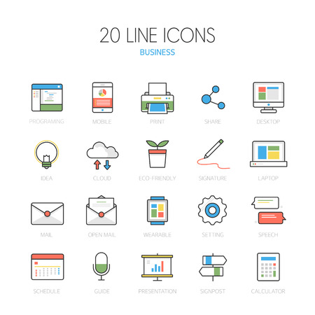 ppt: Business line Icon set