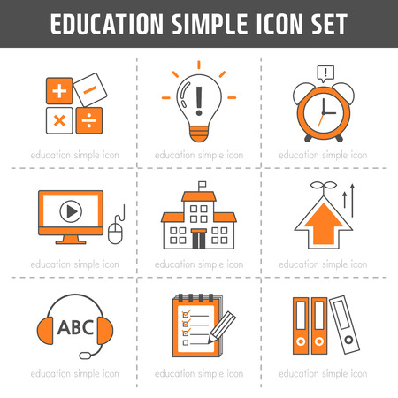 classes schedule: Education Simple Icon Set Illustration