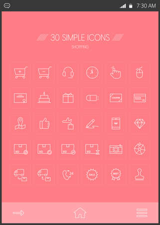 fastball: Compras line Icon set
