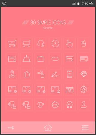 cakes background: Shopping line Icon set