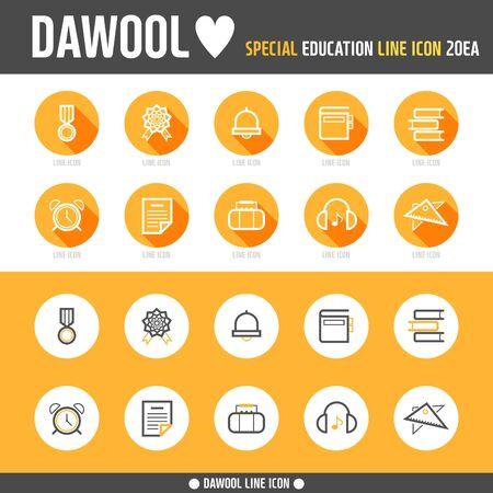 photoshop: Education line Icon set