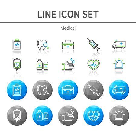 emergency room: Medical line Icon set