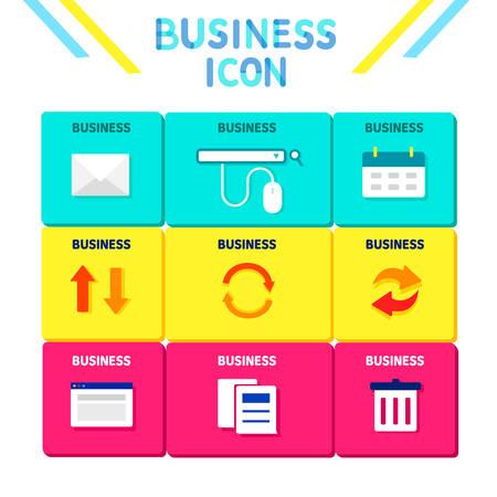 backstop: Business Flat Icon Set Illustration