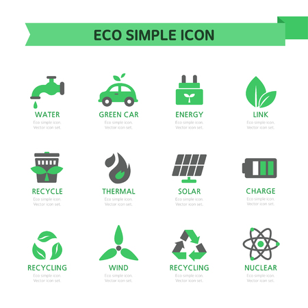 thermal power plant: Eco Simple Icon Set