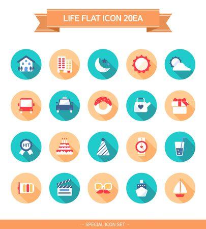 transportation icons: Life Flat icon Set