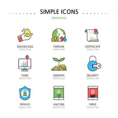 superacion personal: Banca Sencillo Set Icon Vectores