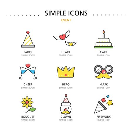 event icon: Event Simple Icon Set Illustration