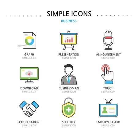 groupware: Negocio Sencillo Set Icono Vectores