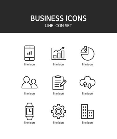 financial position: Business line Icon set