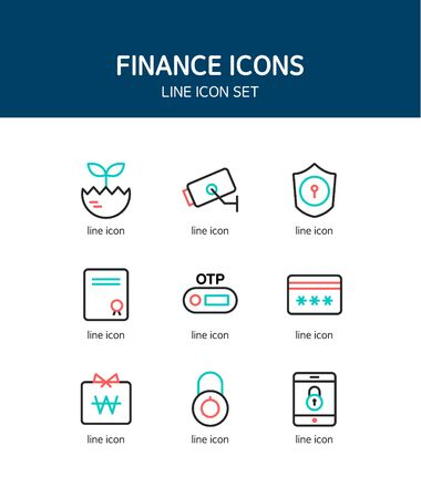 practical: Banking line Icon set
