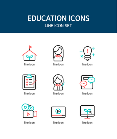 practical: Education line Icon set