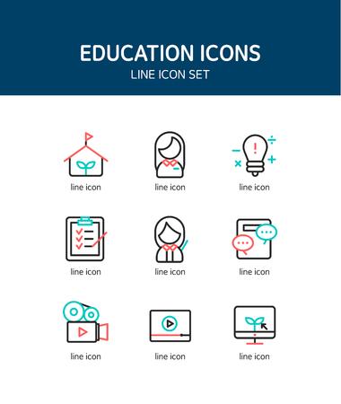 practical: Education line Icon set