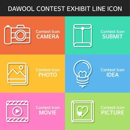 reservations: contest exhibit line Icon Set