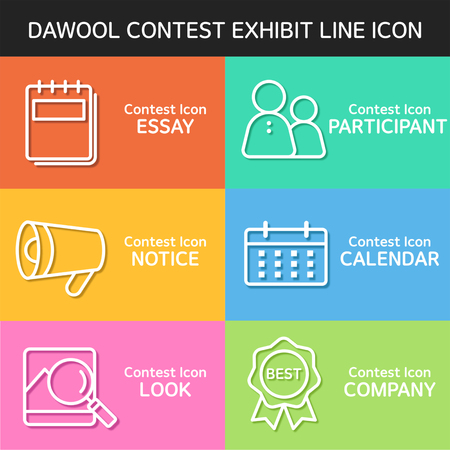 contest exhibit line Icon Set