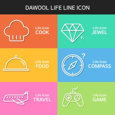 life line: Life line Icon Set Illustration