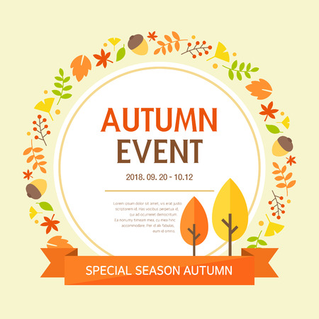 psd: Autumn Event Template Illustration
