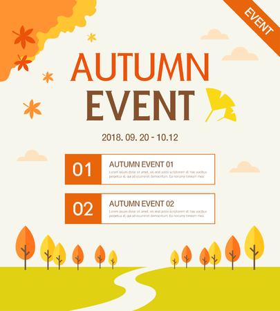 Autumn Event Template  イラスト・ベクター素材