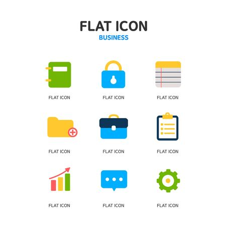 idea icon: Business Flat Icon Set Illustration