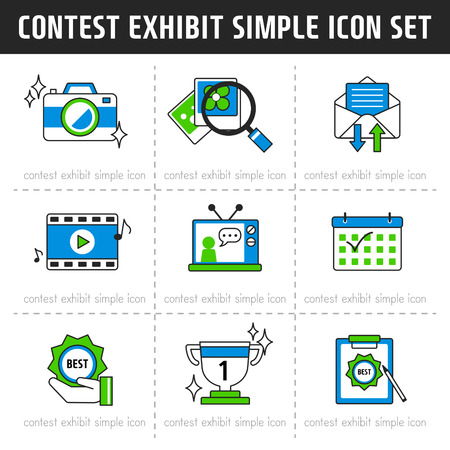 contest: contest exhibit simlpe Icon Set Illustration